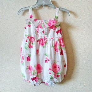 Janie and Jack Floral Romper Strawberry Fields